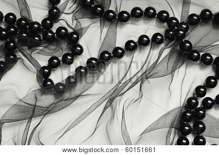 Black Tulle And Black Beads