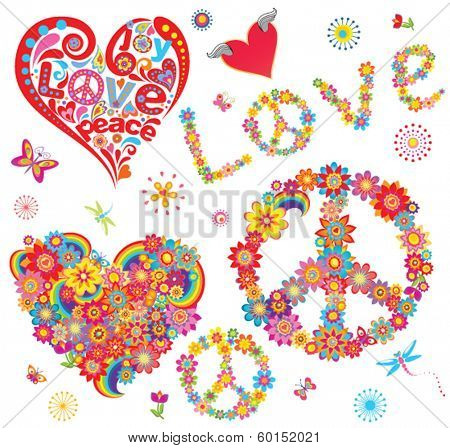 Set of peace flower symbol and floral hearts