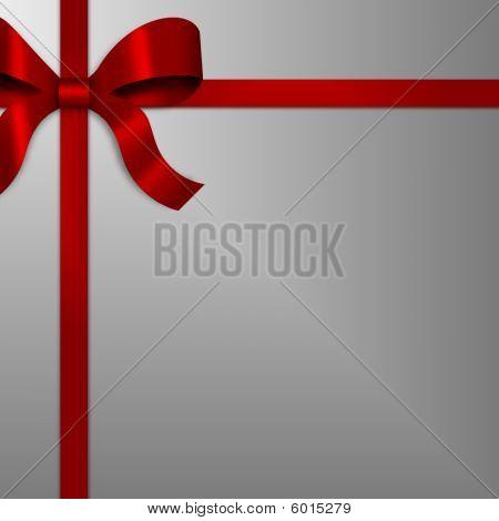 Cinta de arco de regalo roja en plata