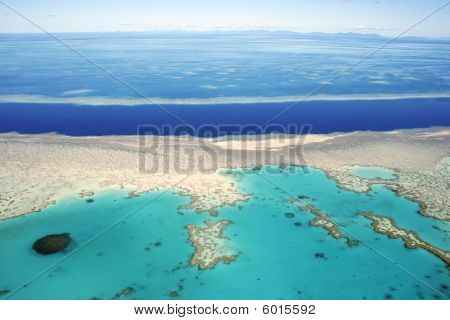 Aerial view of the Great Barrier Reef, Queensland, Australia.