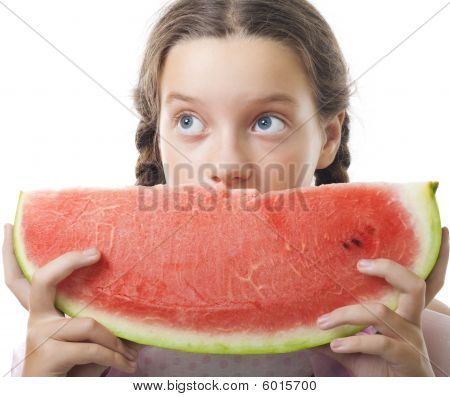 Young teenager girl look with watermelon piece
