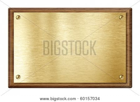 golden plate or  nameboard in wooden frame isolated on white