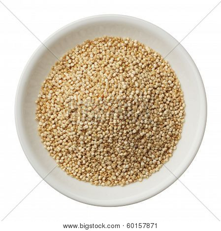 Bowl Of Quinoa Grain Isolated On A White Background