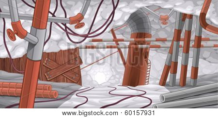 Scene with pipes and cables, underground. Cartoon and vector illustration.