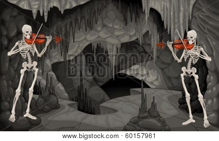 Concert the cavern. Cartoon and vector illustration.