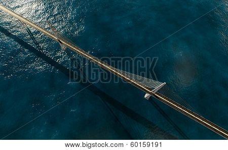 Suspension Bridge Over Ocean