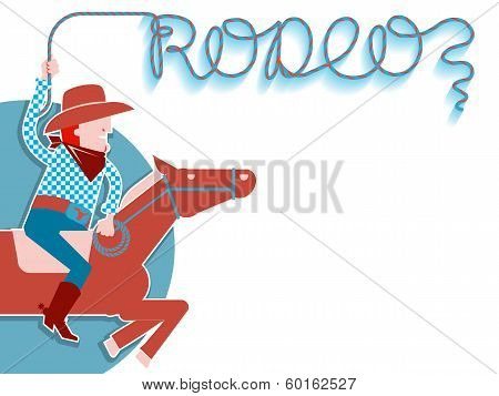 Cowboy With Lasso Rodeo Background.