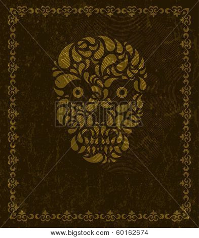 Vector background with skull and frame.