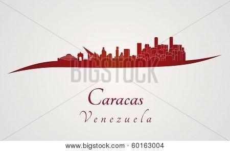 Caracas Skyline In Red