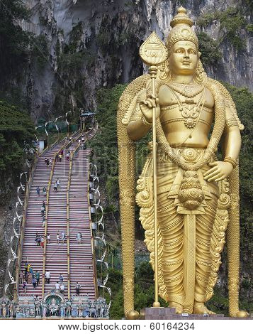 Lord Murugan Statue At Batu Caves Entrance