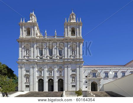Sao Vicente de Fora Monastery. One of the most important monuments in Lisbon. 17th Century Mannerist architecture. Lisbon, Portugal.