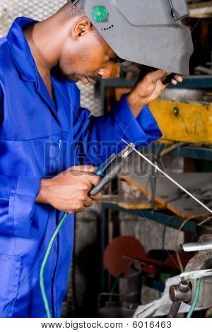 Industrial welder at work