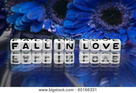 Blue Theme With Fall In Love Message