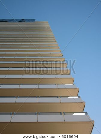 High rise apartment building on sunny day