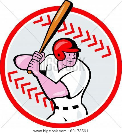 Baseball Player Batting Ball Cartoon