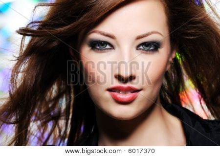 Expressive Look Of Beautiful Brunette  Woman