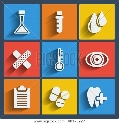 Set of 9 medical vector web and mobile icons in flat design.
