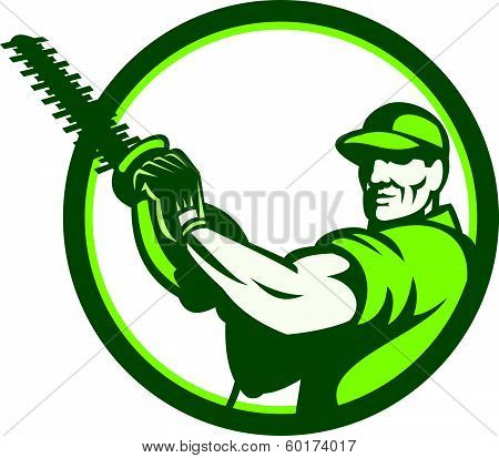 Tree Surgeon Holding Hedge Trimmer Retro