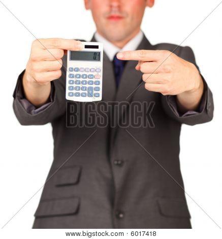 Unternehmer Holding einen Taschenrechner