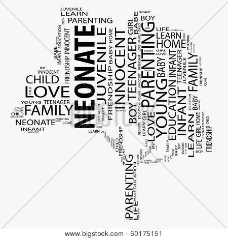 Conceptual black tree made of text as education and neonate wordcloud isolated on white background