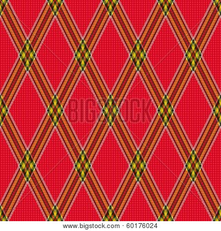 Rhombic Tartan Red Fabric Seamless Texture