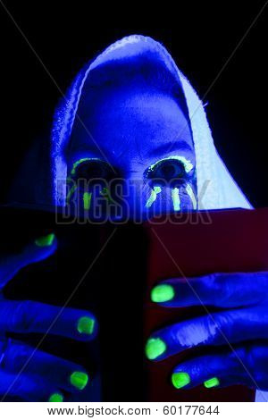 Woman Black Light Book Eyes Look Over
