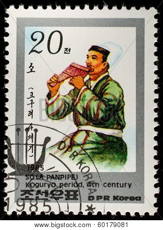 DPR KOREA - CIRCA 1985: A stamp printed in DPR KOREA shows A panpipe 4th centur, circa 1985