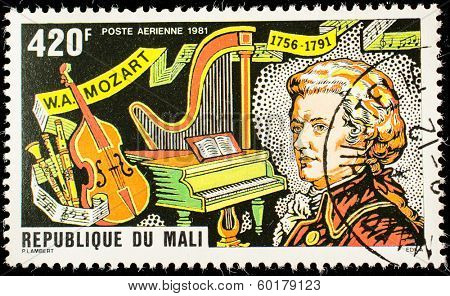 MALI - CIRCA 1981: A stamp printed by Mali, shows great composer Wolfgang Amadeus Mozart, circa 1981