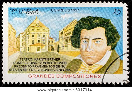 CUBA - CIRCA 1997: a postage stamp printed in Cuba showing an image of Ludwig van Beethoven, circa 1997.