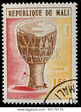 MALI - CIRCA 1973: A stamp printed by Mali, shows musical instrument  Dozo ngoni, circa 1973