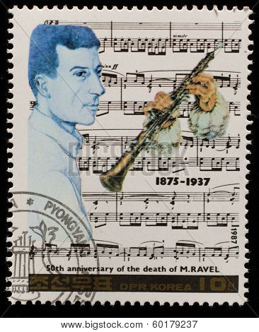 NORTH KOREA - CIRCA 1987: A stamp printed in North Korea shows Maurice Ravel (1875-1937), series Famous Composers, circa 1987