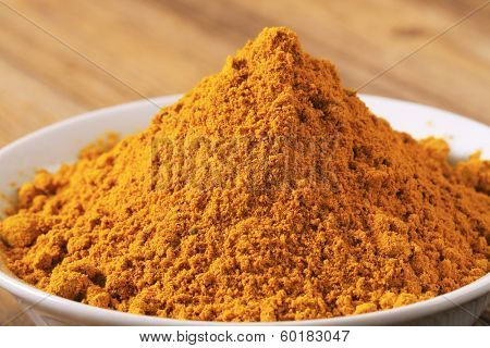 macro detail of curry powder in the bowl