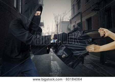 Young Thief Stealing Woman's Bag