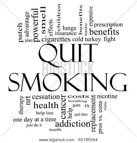 Quit Smoking Word Cloud Concept In Black And White