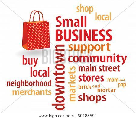 Small Business Word Cloud, Bright Orange Shopping Bag