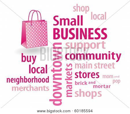 Small Business Word Cloud, Pastel Pink Shopping Bag
