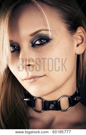 beautiful woman with a collar