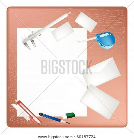 Architect Tools Lying On A Blank Page And Envelope