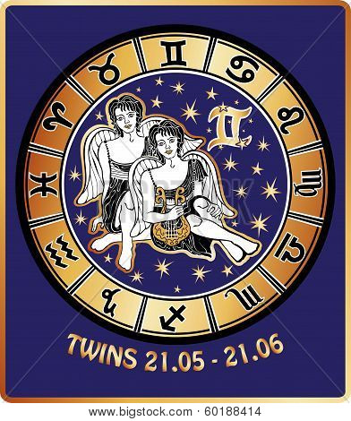 Twins Boys Zodiac Sign.horoscope Circle.retro Illustration