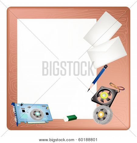 Computer Hardware On A Blank Page And Envelope