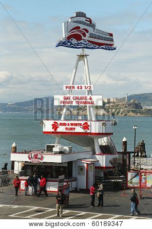 Pier 43 home of the Red and White Fleet at Fisherman's Wharf in San Francisco