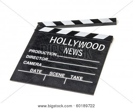 Hollywood show biz news icon symbol film movie clapperboard.