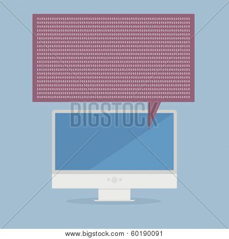 minimalistic illustration of a monitor speaking binary numbers, eps10 vector