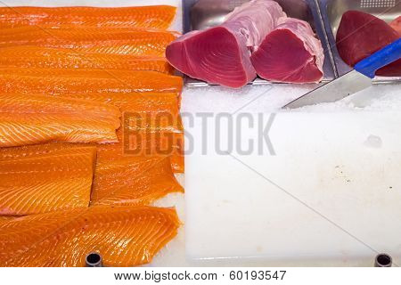 Fresh salmon and tuna filet