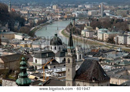 Arial View Of Salzburg, Austria