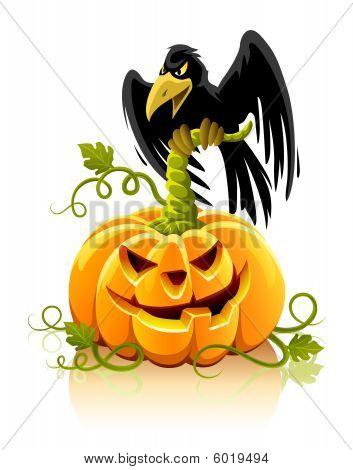 halloween pumpkin vegetable with black raven bird