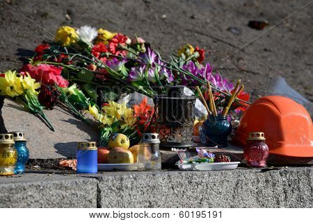 KIEV, UKRAINE - February 21, 2014: Ukrainian revolution, Euromaidan. Funeral wreath of civilians killed during clashes with the armed forces