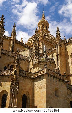 Segovia Cathedral, A Roman Catholic Religious Church In Segovia, Spain.