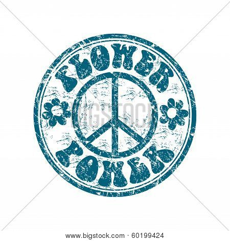 Flower power grunge rubber stamp