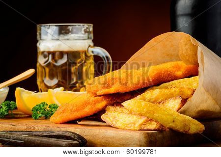 Fish And Chips Meal And Beer